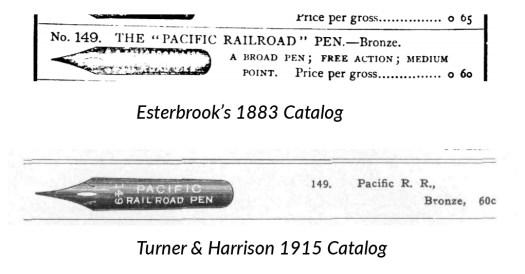 149 Pacific Railroad Pen Catalog comparison