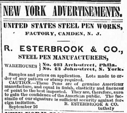 1865 Esterbrook NY ad