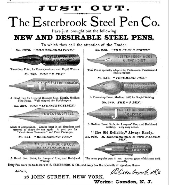 1877 Esterbrook Indestructible pen ad