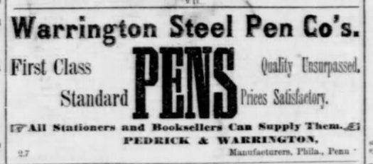 1877 Pedrick and Warrington ad