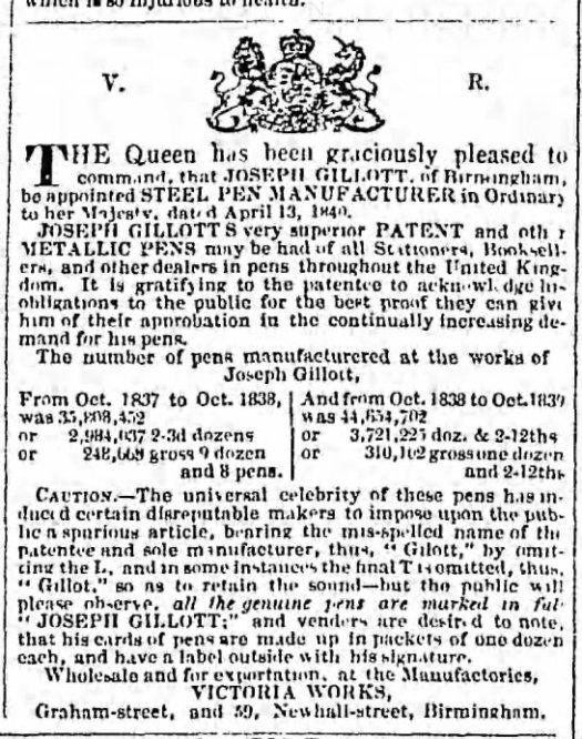 1840 Gillott ad signature as proof