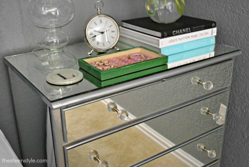 diy mirrored nightstand the steen style