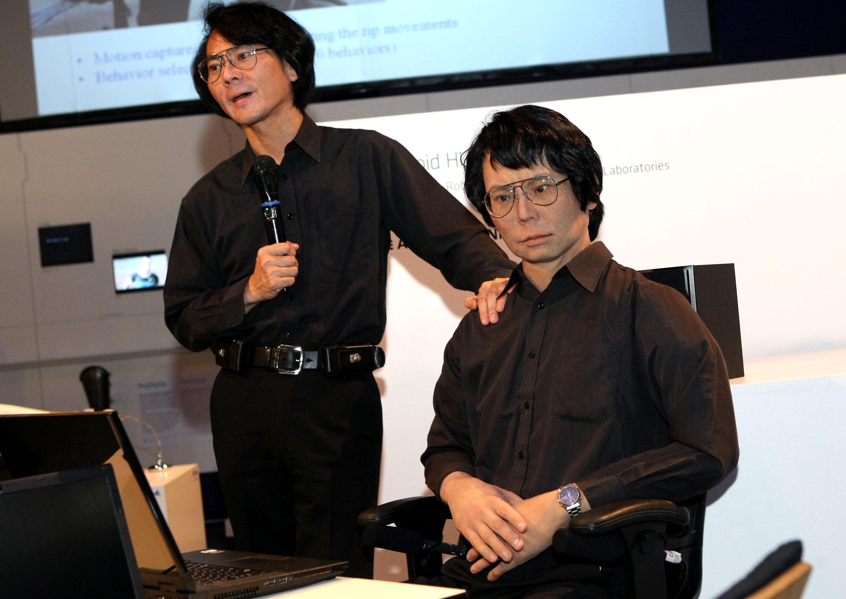 Professor Hiroshi Ishiguro and his robot double.