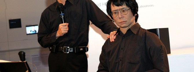 Professor Hiroshi Ishiguro and his robot double.