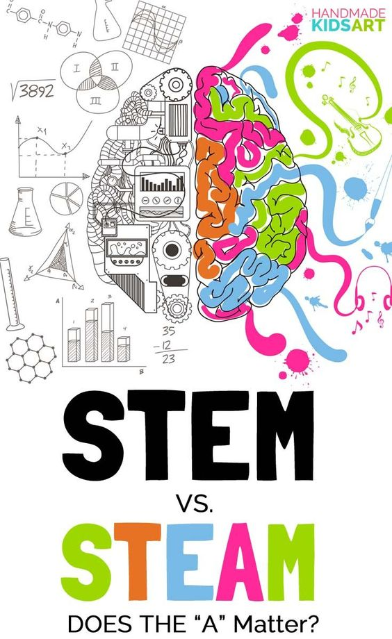 STEM vs STEAM - an illustration of the two halves of the brain