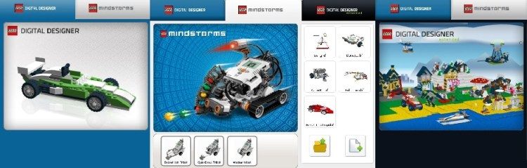 Lego Digital Designer startup screens