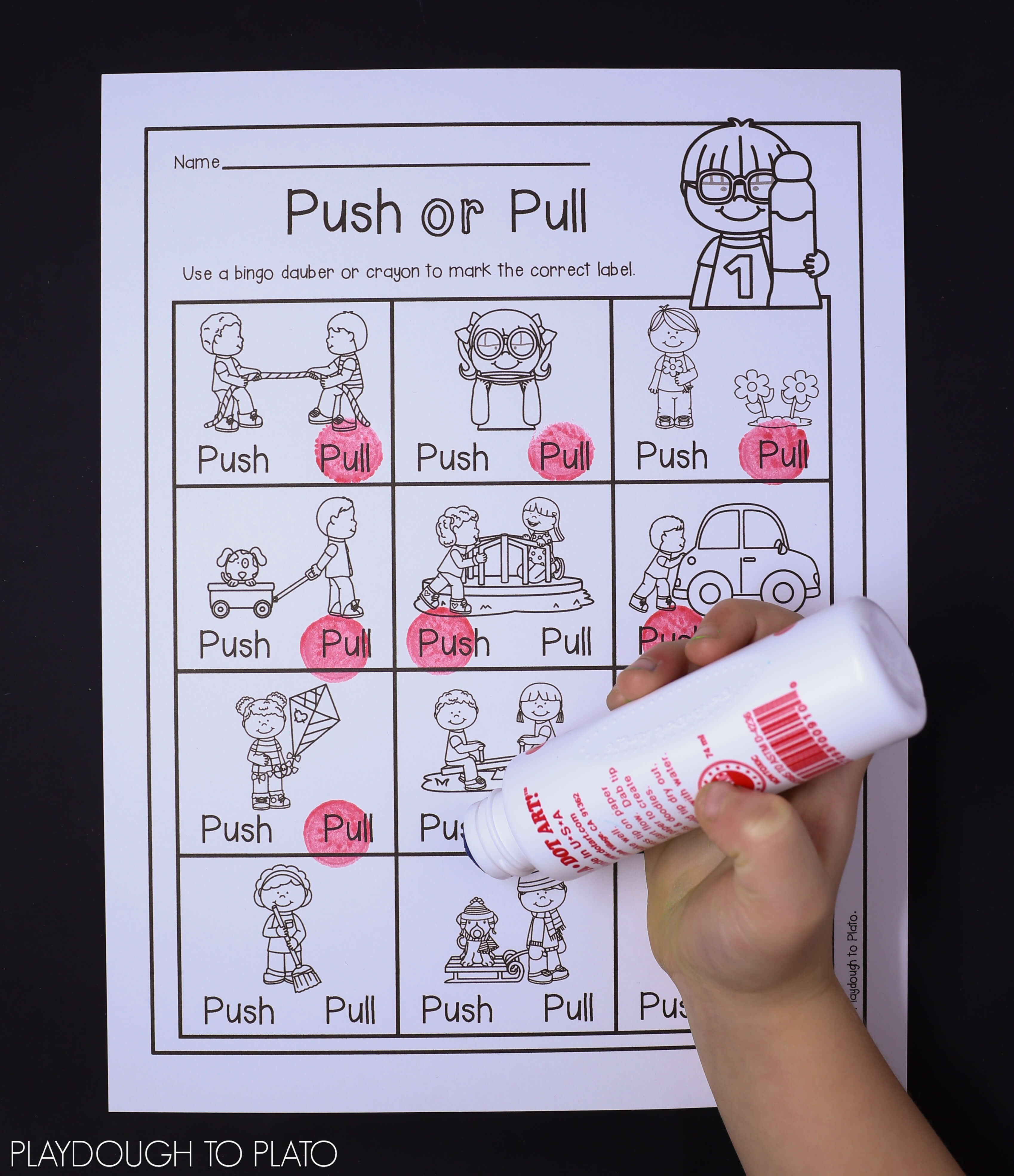 Push Pull Worksheet 1st Grade