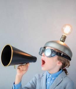 School pupil and megafone