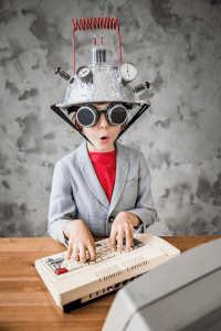 School pupil on computer