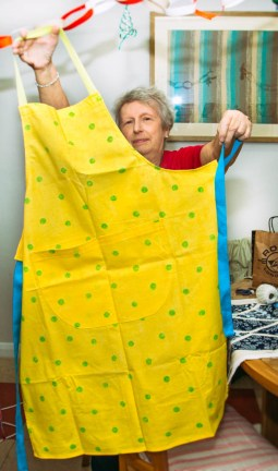 Jackie showed us her Apron - love that the fun colour reaches the different coloured straps!