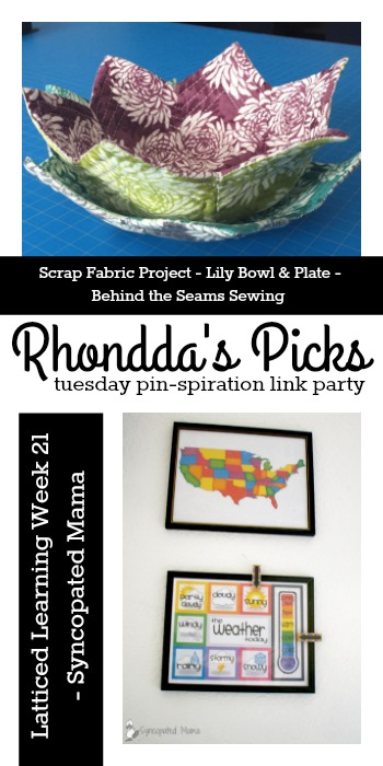 Rhondda's Picks | Scrap Fabric Project - Lily Bowl & Plate/Latticed Learning Week 21 | Tuesday PIN-spiration Link Party www.thestitchinmommy.com
