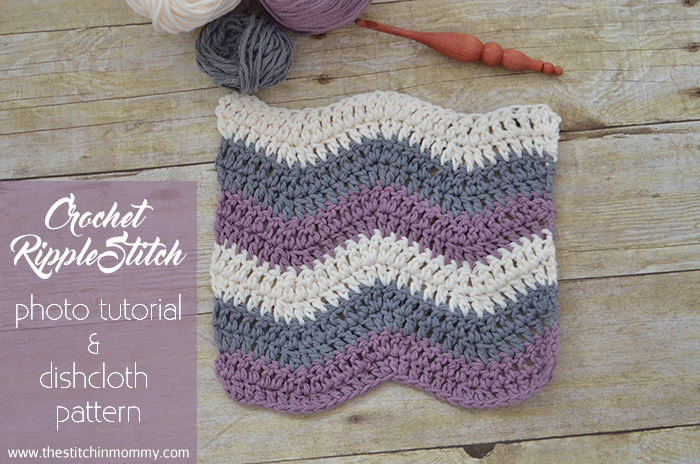 Let's Learn a New Crochet Stitch Pattern - Kitchen Edition: Crochet Ripple Stitch Photo Tutorial and Dishcloth Pattern   www.thestitchinmommy.com