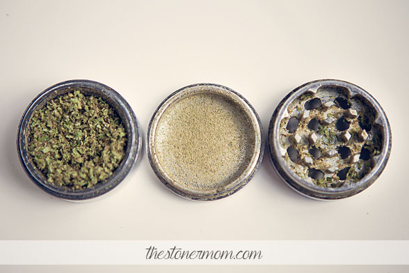 Marijuana grinder with all parts separated.