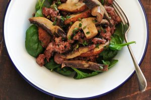 One Pot Mushroom Sausage & Spinach
