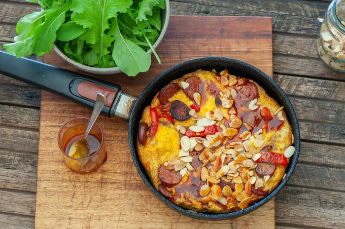 chorizo, eggs, peppers