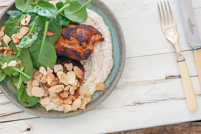 Spiced Salmon with Almond 'Hummus'