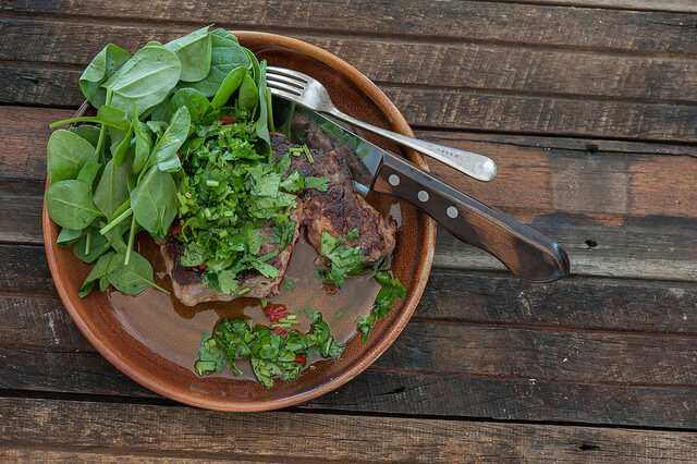 Steak with Herb Chilli Oil