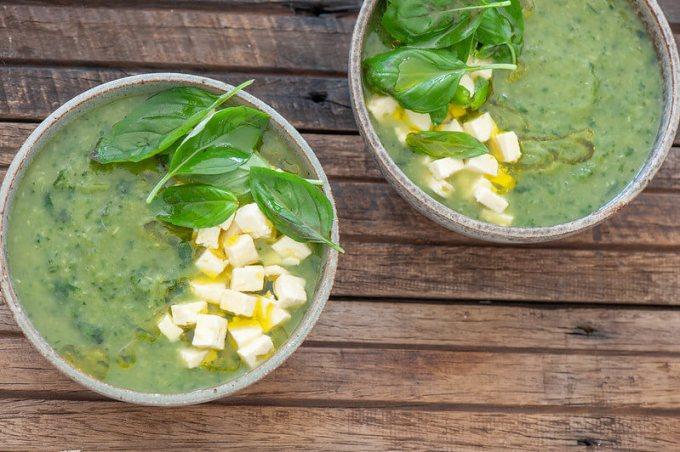 Zucchini Basil & Feta Soup