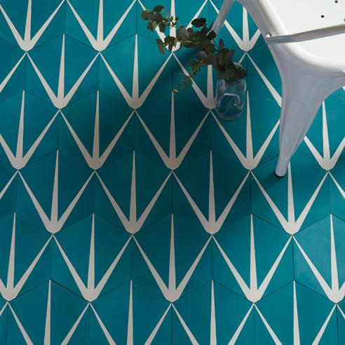Lilypad Hex Marine Encaustic Tiles