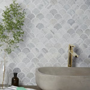 Baobab Silver Blue Limestone Scallop Mosaic Bathroom Wall Tiles