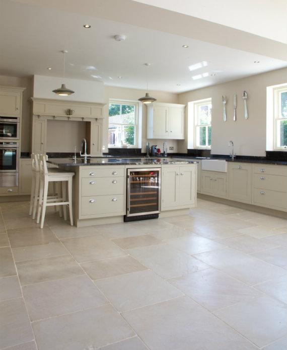 Dorchester Sandstone Tumbled Finish in an open plan kitchen diner