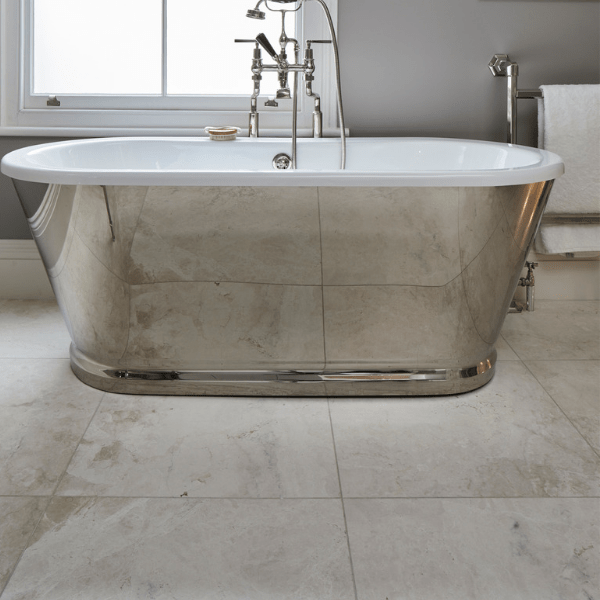 Linara Marble Honed Finish with a stylist mirrored bathtub