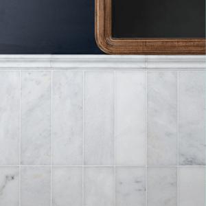 Long Island Marble Dado Honed On a bathroom wall
