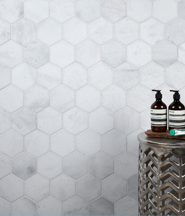 Long Island Marble Honed Large Hexagon Mosaic Wall Tiles