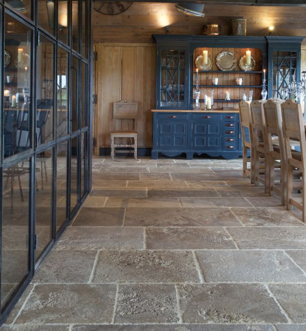 Medieval Bourgogne Limestone Weathered Finish dining area