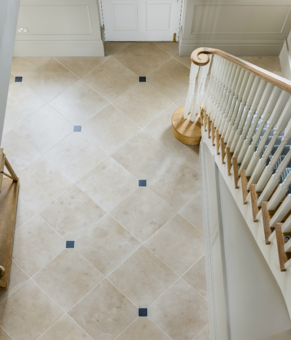 Neranjo Limestone Velvet Finish at the foot of the stairs