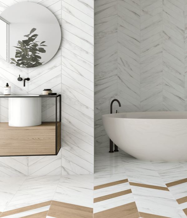 Rotterdam Calacatta Porcelain throughout a modern stylish bathroom