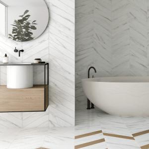 Rotterdam Calacatta Porcelain throughout a modern stylish bathroom