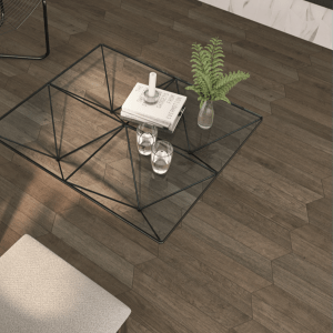Rotterdam Dark Wood Porcelain in a contemporary themed living area
