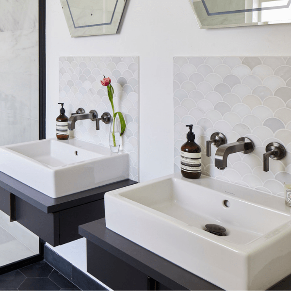 Zen Marble Scallop Mosaic with Classic Contemporary sink surroundings
