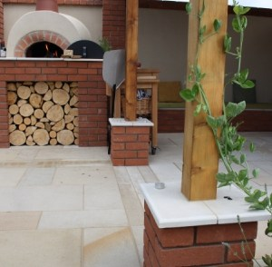 Cornsilk natural sandstone patio slabs