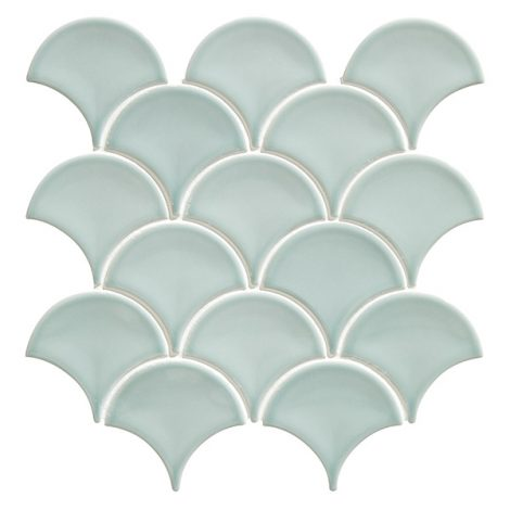 mint green scallop shaped mosaic porcelain wall and floor tiles