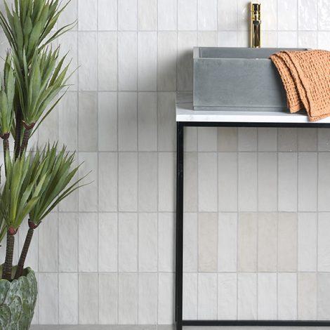 handmade white ceramic gloss tiles