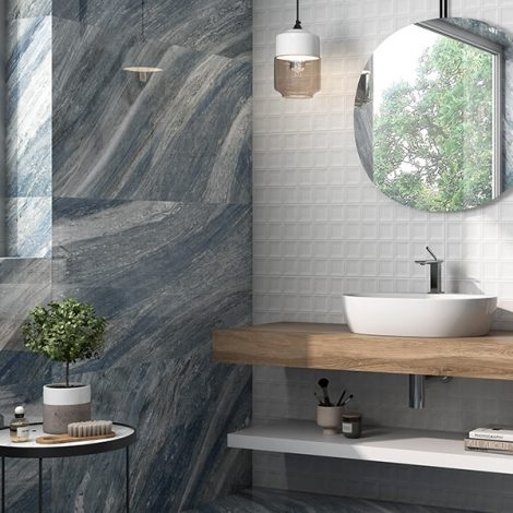 grey and blue marble effect porcelain bathroom wall tiles