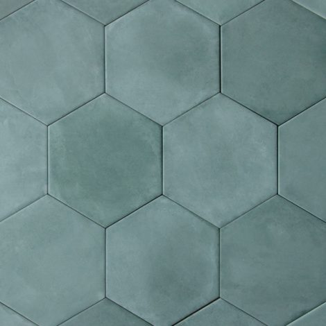 aqua coloured porcelain wall and floor tile