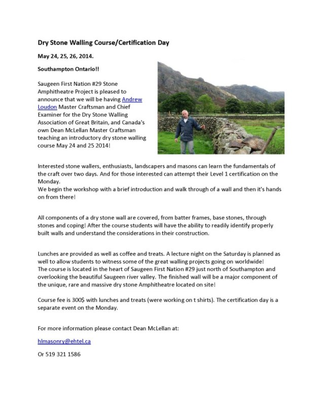 Dry Stone Walling Course flyer