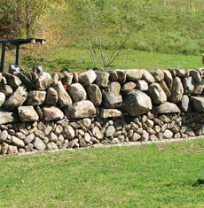 Galloway type dry stone wall built by Dan Snow (photo credit: Dan Snow Stonework)