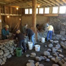 Women's workshop dry stone wall in progress