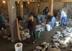 women's dry stone wall workshop hearting first lift