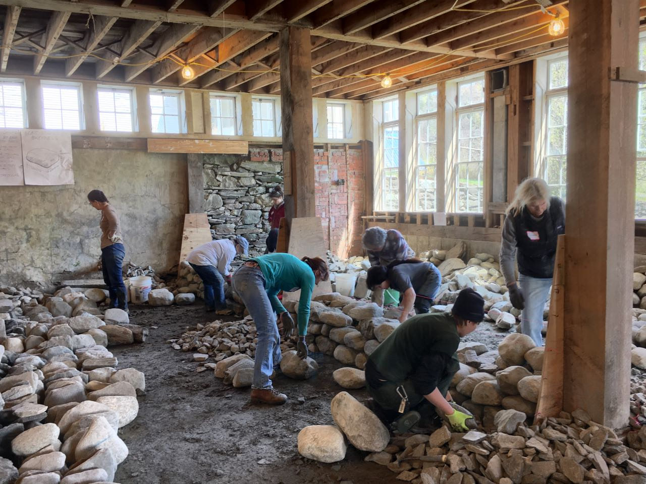 Women's dry stack stone wall workshop