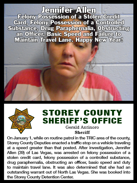 Storey County Sheriff's Office Arrest Log