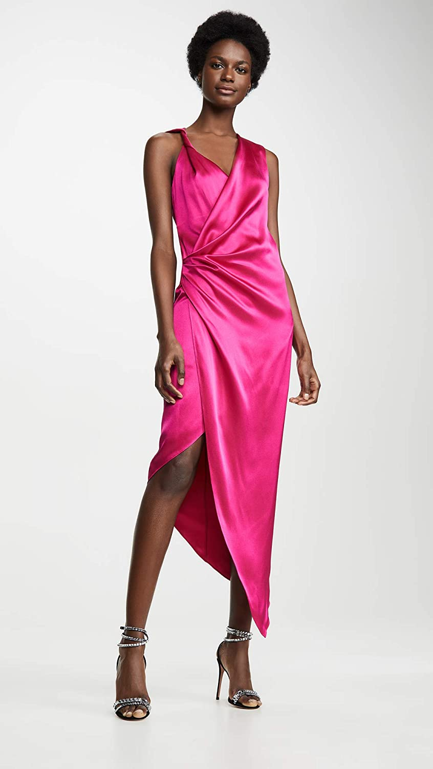 Black female model wearing pink Sleeveless Plunging Dress with Draped Bodice and Hem by Cushnie