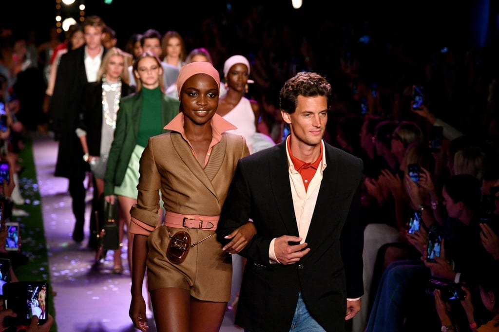 Models wearing menswear trends at Brandon Maxwell Fashion Show showcasing power suits for women, blazer and shorts outfit, menswear fashion women,