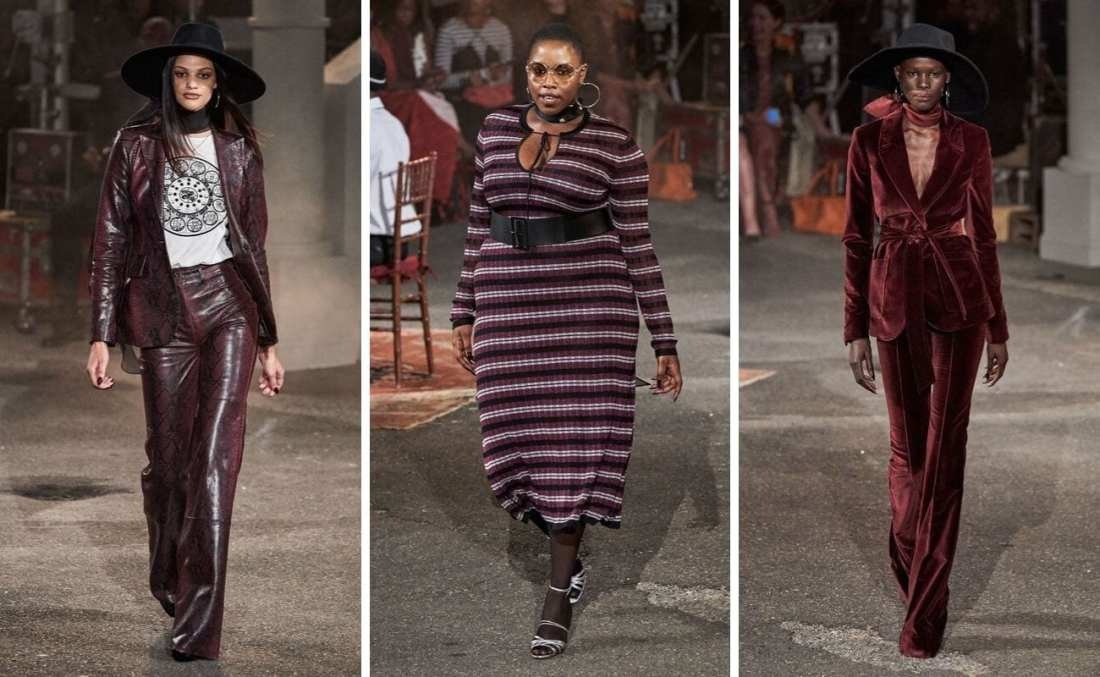 TommyxZendaya Fall 2019 with three models walking down runway wearing burgundy