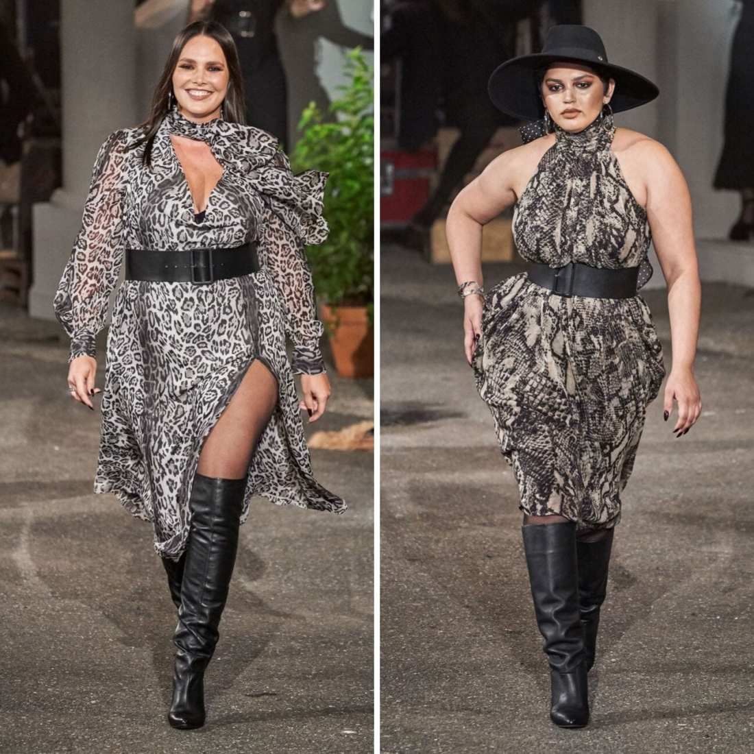 TommyxZendaya Fall 2019 with two models walking down runway. wearing 70's funk and menswear for women fashion trend snake skin