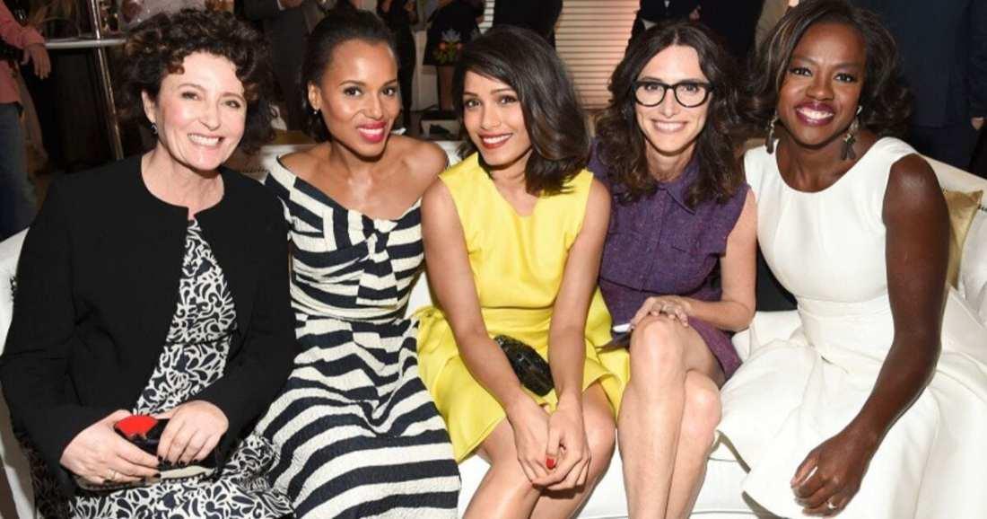 Celebrity Stylist Elizabeth Stewart with celebrity client actresses Kerry Washington, Freida Pinto and Viola Davis.